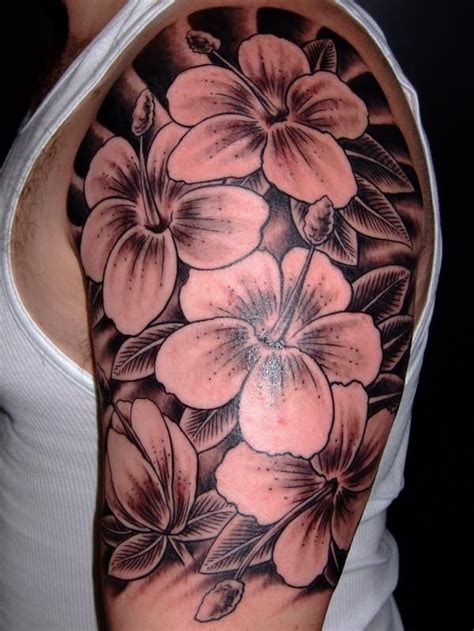 flower tattoo on upper arm awesome black ink flowers tattoo for men on upper arm
