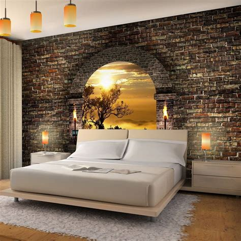 accent wallpaper schlafzimmer vlies fototapete tropical sunset fesches schlafzimmer