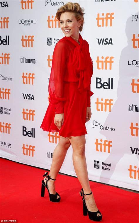 anime film festival toronto scarlett johansson shows off her toned legs in bright mini