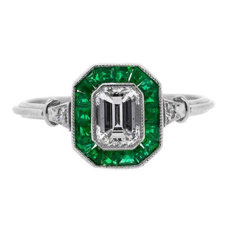 Emerald Cut by Emerald Cut Platinum Ring Claude Morady Estate