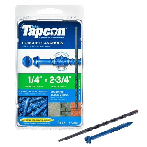 tapcon 1 4 in x 2 3 4 in hex washer concrete