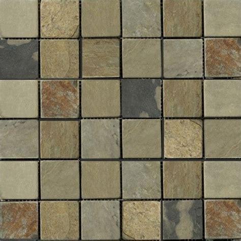 indian autumn tumbled mesh mounted slate mosaic tiles