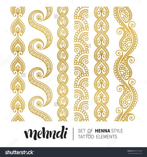 gold pattern border vector illustration of gold mehndi pattern set of