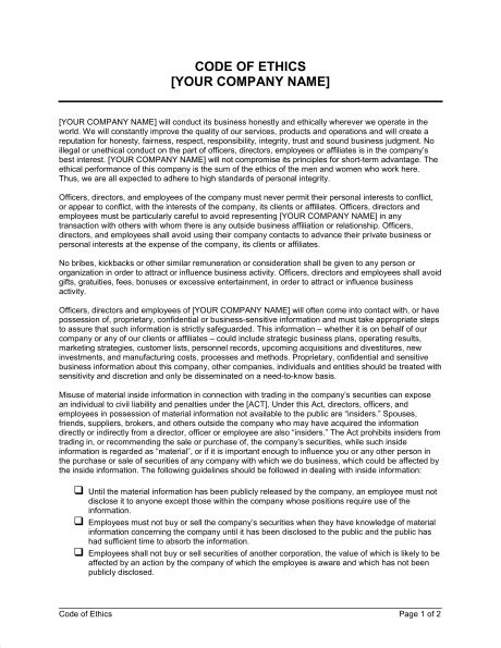 Code Of Ethics Template Word Pdf By Business In A Box Coding Standards Document Template