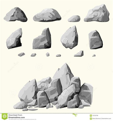 elements design group boulder gray stones set stock vector image of cracked group