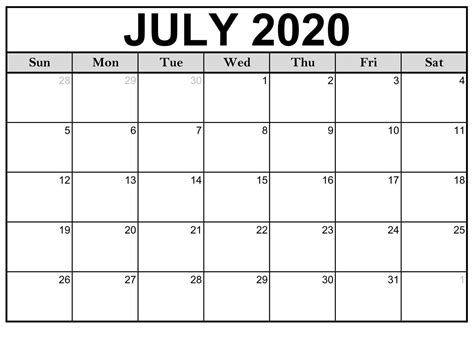 month  july  calendar templates