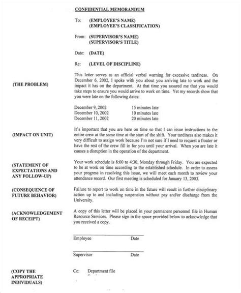 Employee Resume Exles by Disciplinary Memo Template Resume Template Sle