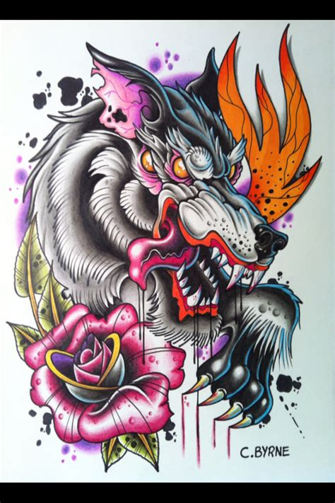 tattoo flash wolf skull and wings tattoo design drawn with color pencils and