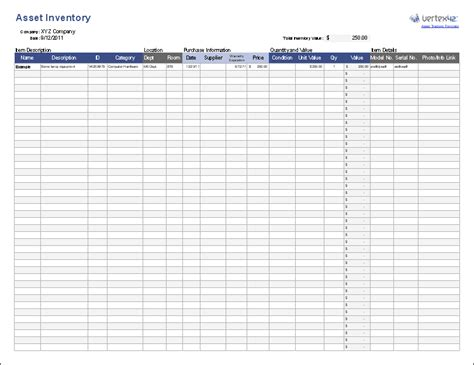 Free Asset Tracking Template For Excel By Vertex42 Excel Asset Inventory Template