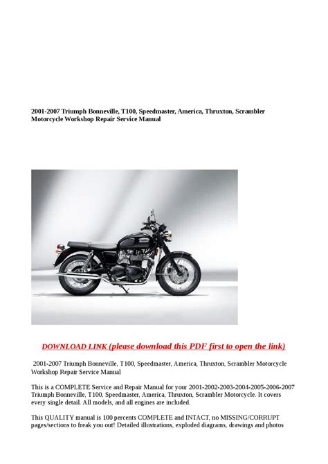 2001 2007 Triumph Bonneville T100 Speedmaster America