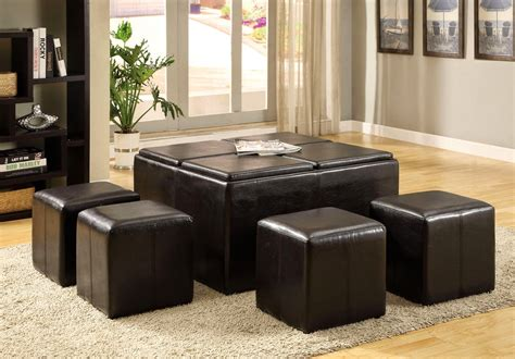 ottoman with flip top tray holloway espresso storage ottoman with 4 flip top trays