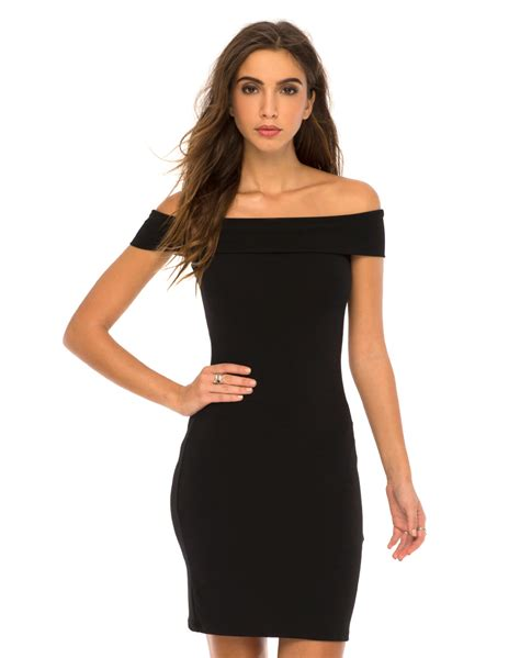 Black Shoulder Dress the shoulder black bodycon dress wata motel rocks