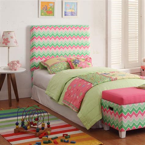 Kids Twin Pink Green Chevron Upholstered Headboard