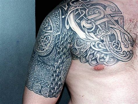 Grey Ink Celtic Tattoo On Chest And Half Sleeve Celtic Tribal Sleeve