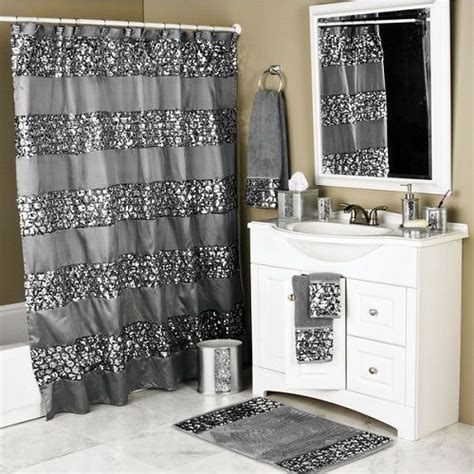sequin bathroom sets metallic silver glitter shower curtain sequin bathroom