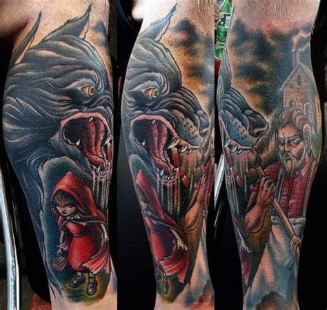 red riding hood tattoo wolf 3d wolf