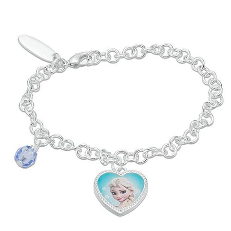 Disney Elsa Silver Charm With Light Blue Flourescent Murano Glas P 12 child s blue 169 disney elsa charm bracelet in brass with white rhodium 6 quot gemstone