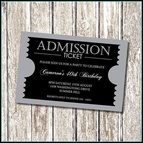 invitation ticket template templates  resume examples
