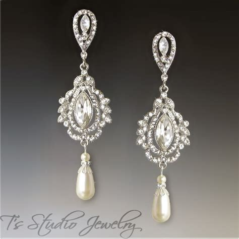 Marquise Crystal And Pearl Chandelier Bridal Earrings Pearl Chandelier Bridal Earrings