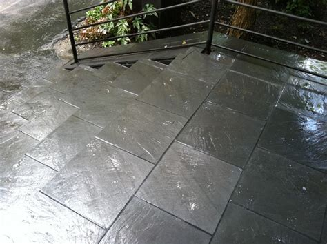 black slate veneer contemporary landscape