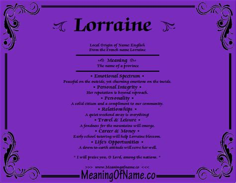 lorraine meaning of name