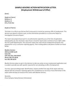Offer Withdrawal Letter Employer Employment Letters