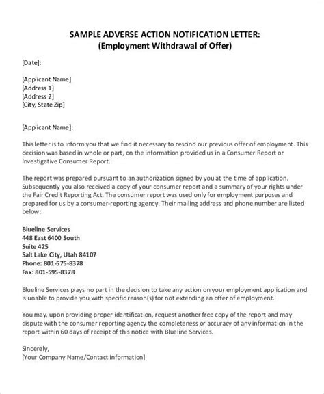 Offer Withdrawal Letter Format sle letter employer withdrawing offer docoments