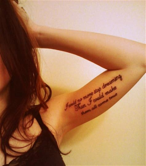 tattoo lyrics placement i would no more stop dreaming than i could make them all