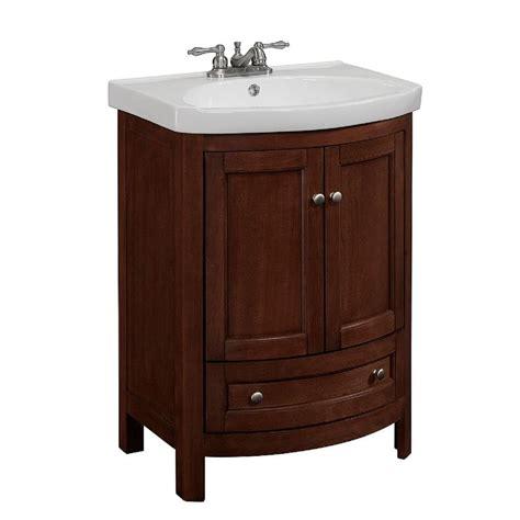 24 X 19 Bathroom Vanity Runfine 24 In W X 19 In D X 34 In H Vanity In Walnut With Vitreous China Vanity Top In White