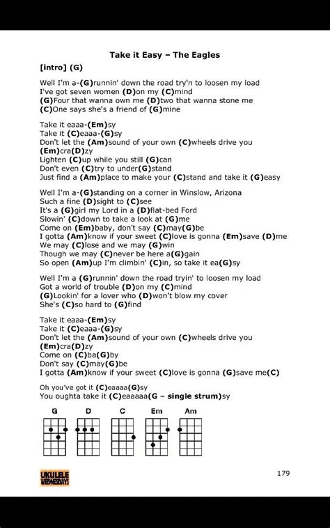strumming pattern how you get the girl take it easy eagles ukulele chords ukulele pinterest