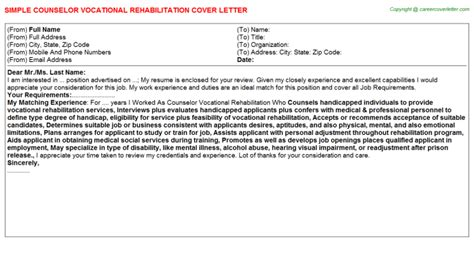 Vocational Rehabilitation Specialist Cover Letter by Counselor Vocational Rehabilitation Cover Letter