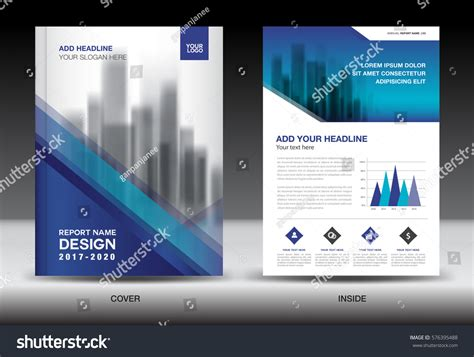 Annual Report Brochure Flyer Template Blue Stock Vector 576395488 Shutterstock Ads Report Template