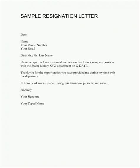 resignation examples example resignation letter professional free