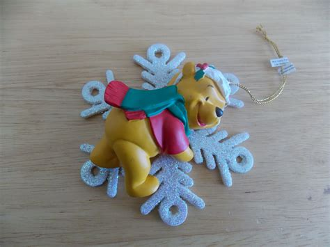disney winnie the pooh on snowflake christmas ornament