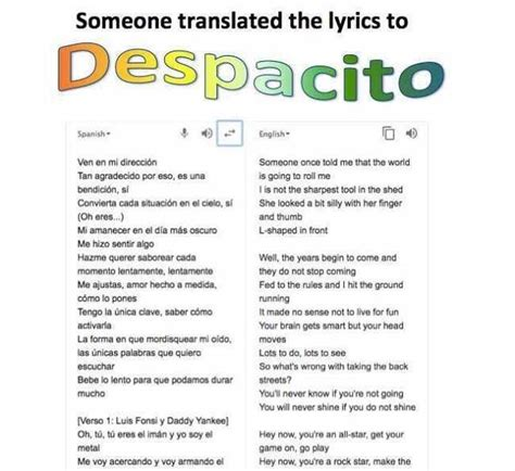 Despacito With English Lyrics | dopl3r com memes someone translated the lyrics to