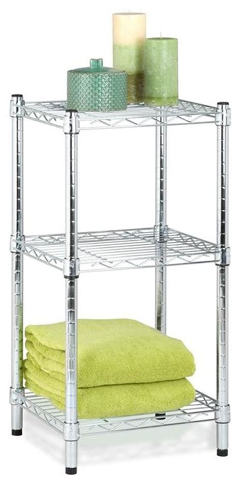 Bathroom Wire Shelving 3 Tier Chrome Wire Shelving Tower Contemporary Bathroom Cabinets And Shelves By Shopladder