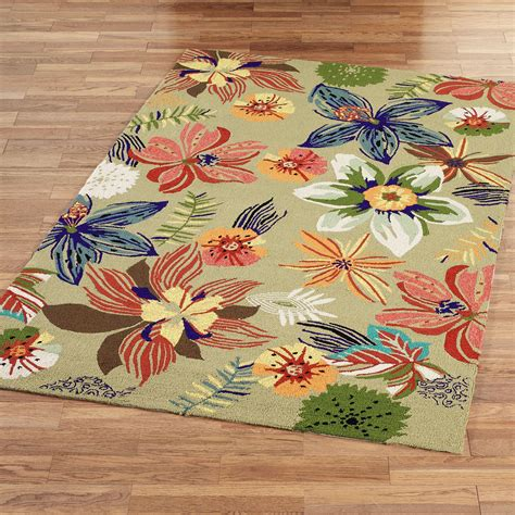 Four Seasons Tropical Floral Indoor Outdoor Rugs Tropical Rugs