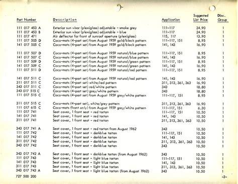 Canada Price List Thesamba Vw Archives 1964 Vw Accessories Price