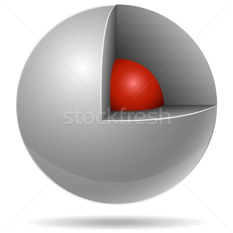 section of a sphere cross section of white sphere with red one inside isolated