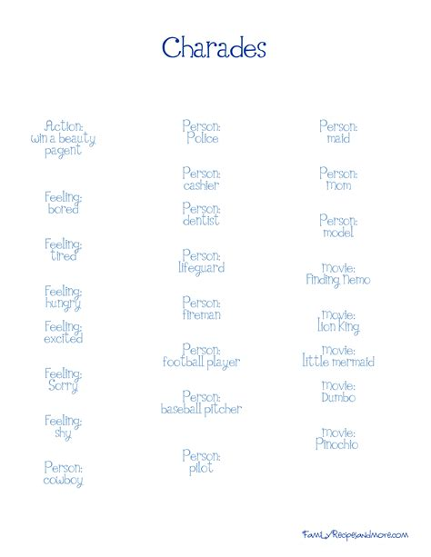 4 best images of charades word list printable free funny charades word list family ideas pinterest