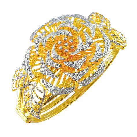 Gelang Cincin Motif Bunga 4 gelang tangan emas 916 wah chan gold jewellery