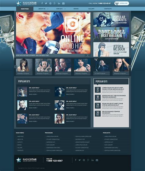 templates for radio website responsive radio station html template on behance