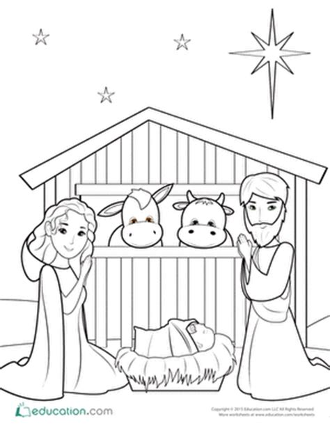nativity set coloring page nativity coloring pages education com