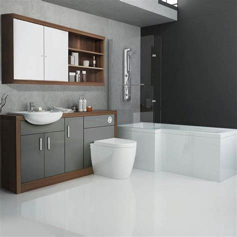 Shower Bath Bathroom Suites Lucido L Shape 1500 Furniture Suite Grey Buy At Bathroom City