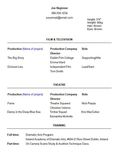 resume template for actors best 25 acting resume template ideas on