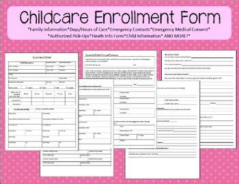 child care enrollment form template 1000 images about childcare enrollment forms on