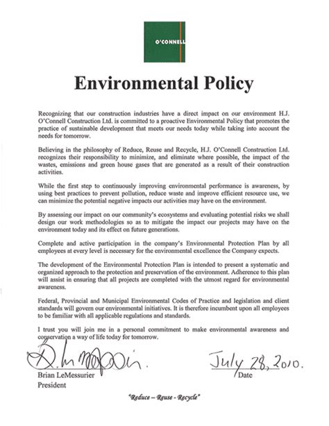 environmental policy design hjoc h j o connell construction limited company