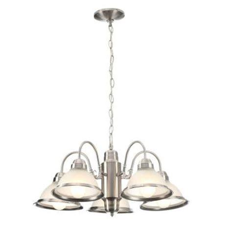 brushed nickel chandeliers commercial electric halophane 5 light brushed nickel