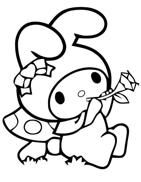 My Melody Holding Flower Coloring Page H M Coloring Pages Colour Pages