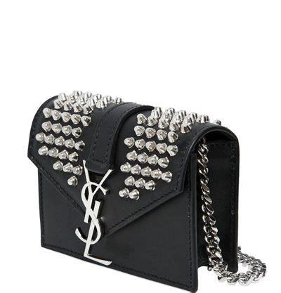 silver metal studs ysl monogram  chain straps mini
